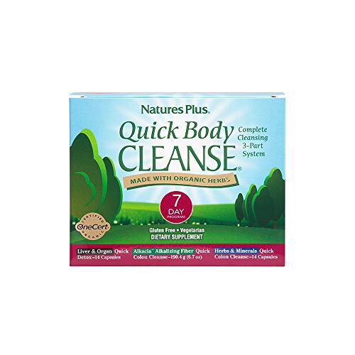 NaturesPlus Quick Body Cleanse Kit – 7 Day Morning & Evening Program, 28 Vegetarian Capsules – Alkalizing Colon Cleanse – Supports Weight Loss & Healthy Liver – Organic, Gluten-Free – 28 Servings
