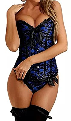 Spring fever Sexy Lingerie Push Up Bodyshaper Overbust Bustier with G-String