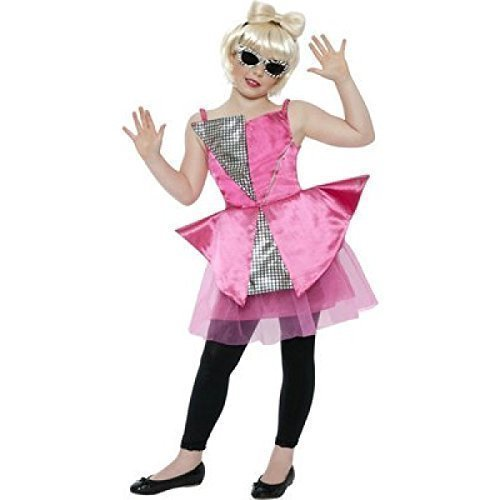 Girls Lady Gaga Dance Diva Famous Celebrity Popstar Fancy Dress Costume Outfit (10-12 Years) Pink -