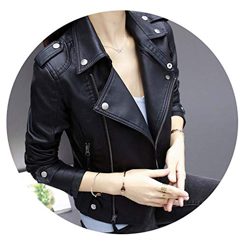Autumn shallow Fate Leather Jackets Women Rivet Zipper Motorcycle Faux Soft Leather Coat,Black,XXL (Jacket Leather Fate)