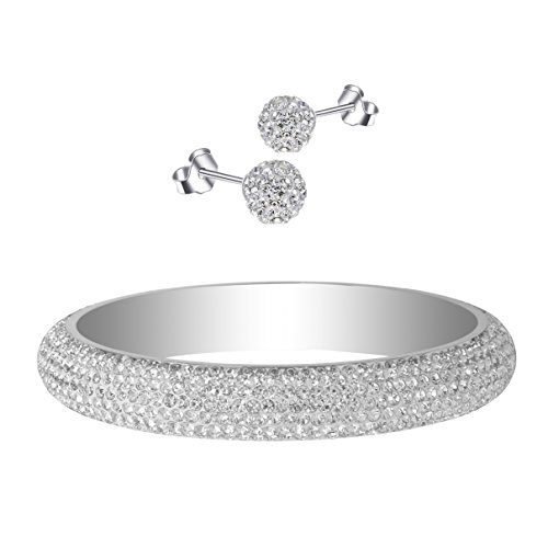 RIVERTREE Silver White Stainless Steel Crystal bangle bracelet W/Earring Set - Size 2-10/16 Large - Paved with Crystal from Swarovski ()