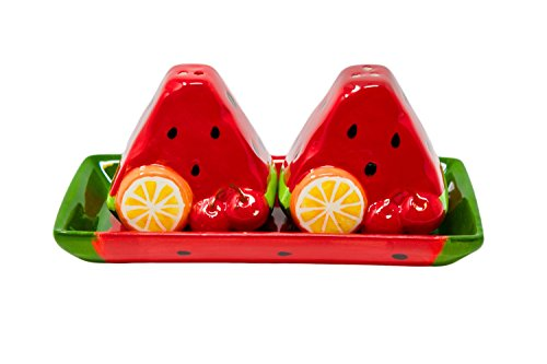 (Summer Watermelon Slices On a Tray Salt And Pepper Shakers Set)