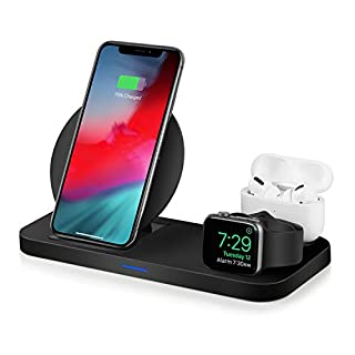 WATOE Wireless Charger 3 in 1 Charging Station for Apple Watch and Airpods Qi Fast Wireless Charger Stand Compatible iPhone 11/11 Pro/X/XS/XR/Xs Max/8 Plus Compatible Apple Watch Series 5/4/3/2/1