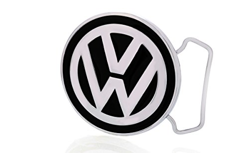 VW Volkswagen Chrome-Plated Solid Brass Black Belt Buckle (Volkswagen Belt compare prices)