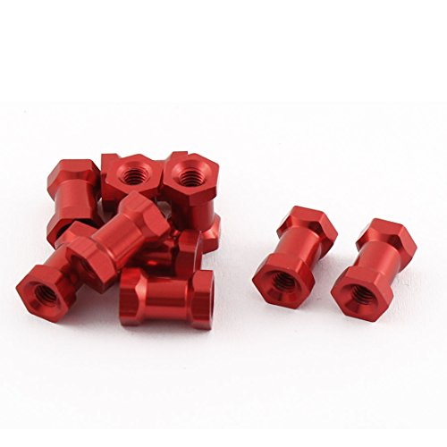 10pcs M3 x 10 6mm Female Thread Red Hexagonal Aluminum - Column Rope