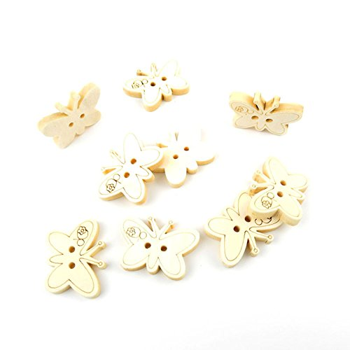 5 Pieces Sewing Clothing Buttons Sew On Wooden Wood Knopfe BB2102 Butterfly Natural Color Boutons Fasteners Notions Multi Pattern Cartoon Supplies Arts Crafts Accessories