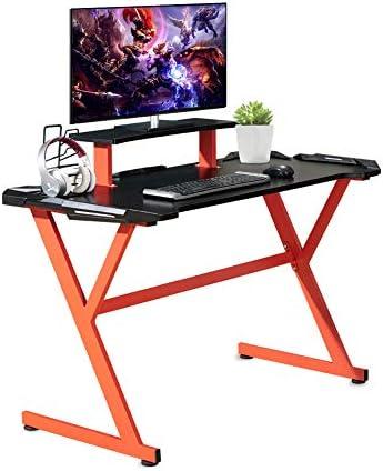 ZENEZ Gaming Desk, [2020 New] 48″x24″ Large Computer Desk Gaming Table Office Corner Desk Workstation Table with Headphone Holder, Covered Edge PC Desk for Gaming, Bedroom, Living Room, (Red Black)