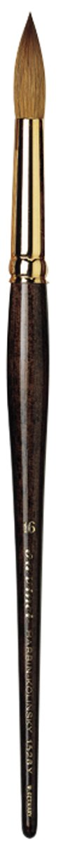 da Vinci Watercolor Series 1526Y Paint Brush, Round Harbin Kolinsky Red Sable with Black Handle, Size 16