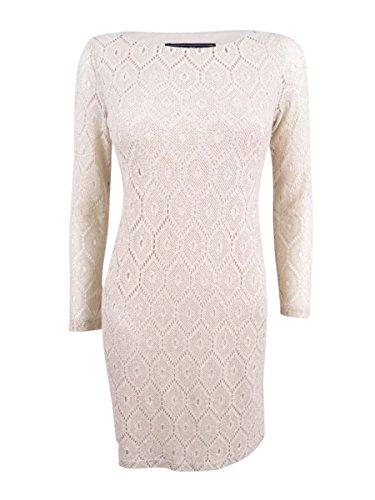 Metallic Shift - Jessica Howard Women's Petite Metallic-Lace Shift Dress (4P, Natural Silver)