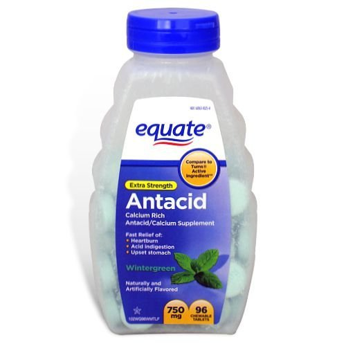 Equate Extra Strength Antacid Wintergreen 750 mg 96 Chewable Tabs Compare to Tums EX (2) ()