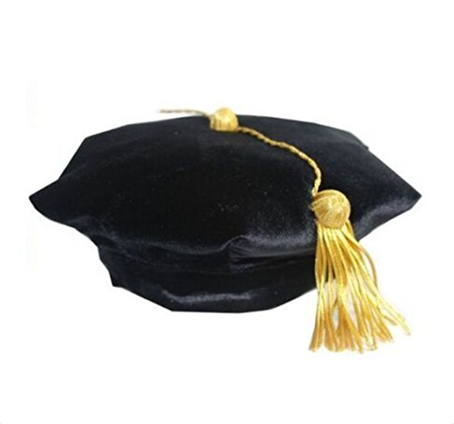 Fristaden Graduation Doctoral Tam, 6-Sided, Black Velvet Band, Gold Tassel, XS-XL (Masters Tam)