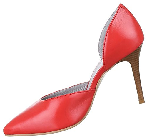 Damen Schuhe Pumps Leder High Heels Rot