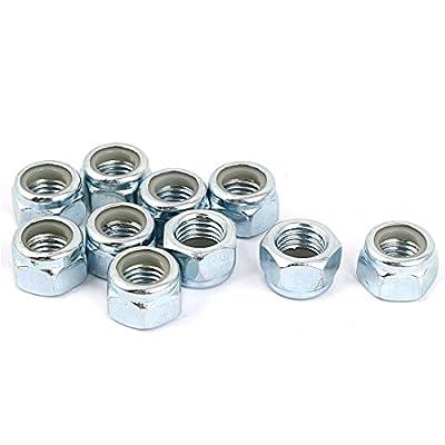 Uxcell a16033100ux0615 M10x1.25mm Zinc Plated Self-Locking Nylon Insert Hex Lock Nut