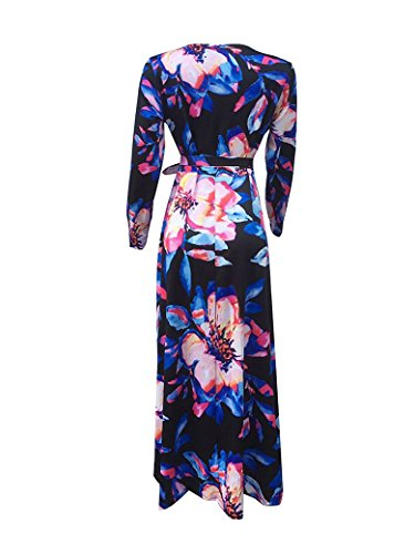 Locryz Women's Floral Print V Neck 3/4 Sleeve Wrap Party Long Maxi Dress With Belt (XXL, Blue)