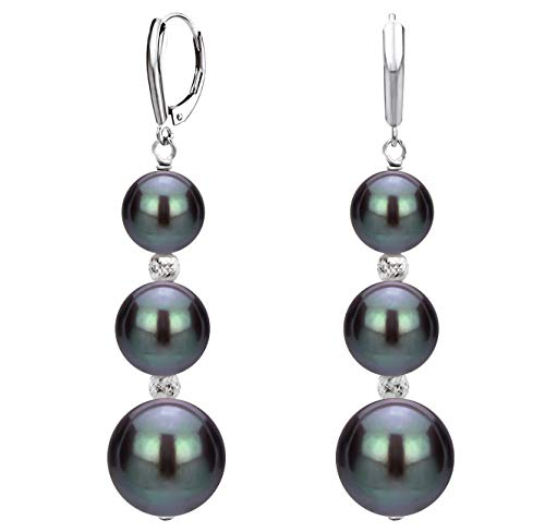 Black Beads Tahitian - Graduated Freshwater Cultured Dyed-black Pearl and Sparkling Beads Lever-back Earrings in Sterling Silver