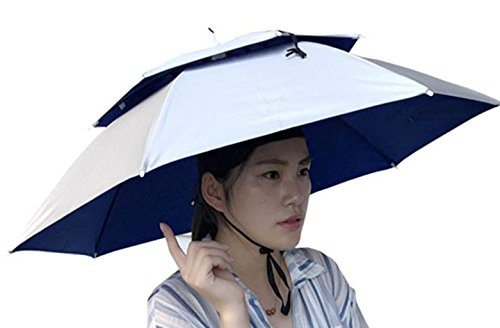 Price comparison product image Double Layer Umbrella Hat for Women and Men, Hot Sale ! Iuhan Unisex Foldable Novelty Umbrella Sun Hat Golf Fishing Camping Fancy Dress Multicolor (Silver)