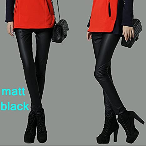 ef450a5cd03299 Image Unavailable. Image not available for. Color: BATOP 2018 Autumn Winter  Women Legging Skinny pu Leather Pencil Leggings Slim Faux Leather Pants  Female