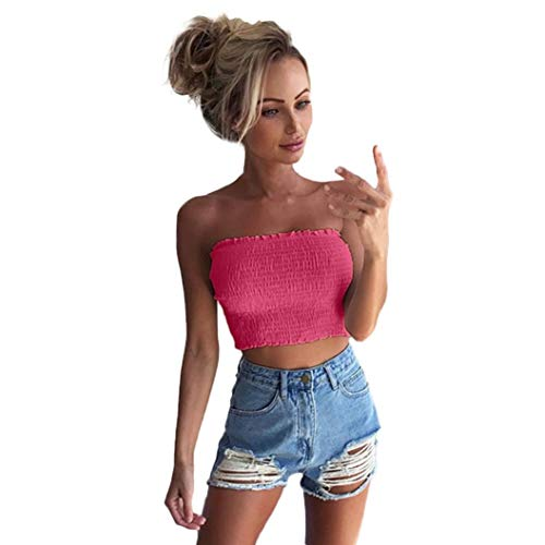Tube Replacement Neon - TOPUNDER Crop Tube Tankini Vest for Women Strapless Sexy Ruched Wrap Tank Tops Evening