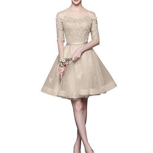 Spitze Promkleider mit Langarm Mini Abendkleider Marie Beige La Schulterfrei Silber Cocktailkleider Braut Rock qv1Rp0tw