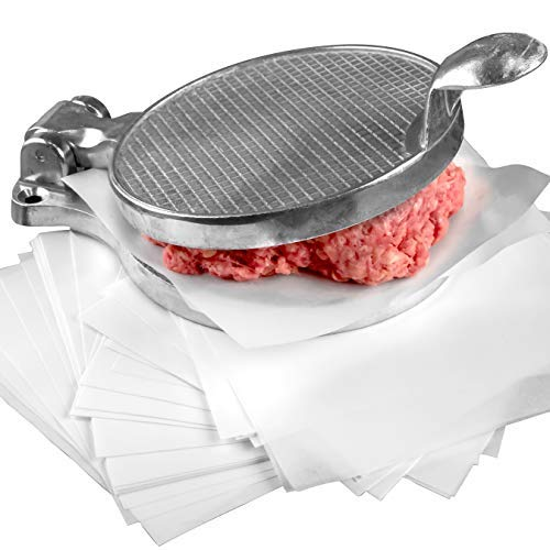 Restaurant-Grade Burger Press and Patty Paper Combo Set. Cast Aluminum 4.5 Hamburger Maker with 1000 Pk 4.75 x 5 Nonstick Wax Butcher Squares! Great for .25 Lb Ground Beef or Chop Steak Patties.