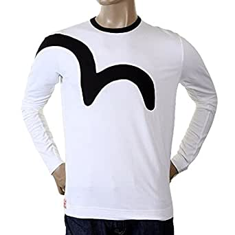 Extra Camiseta Larga Hombre Blanco Manga Evisu Para lF1Tc3JK