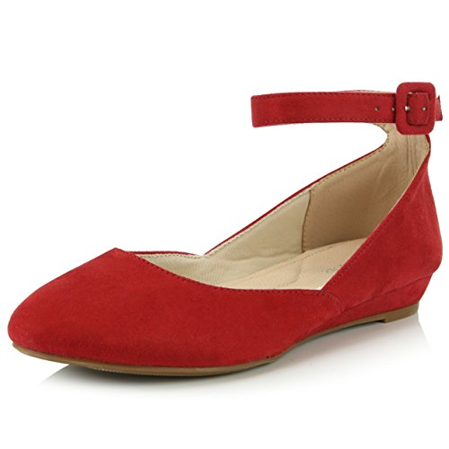 DailyShoes Women's Fashion Adjustable Ankle Strap Buckle Pointed Toe Low Wedge Flat Shoes, Red Suede, 7 B(M) US