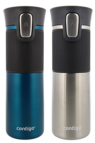 Contigo AUTOSEAL Vacuum Insulated, Stainless Steel Travel Mug, 2 Pack - Keeps Drinks Hot and Cold, Autoseal Button Prevents Spills - No-Slip Comfort Grip - Biscay Bay/ Stainless Steel - 16 Ounces