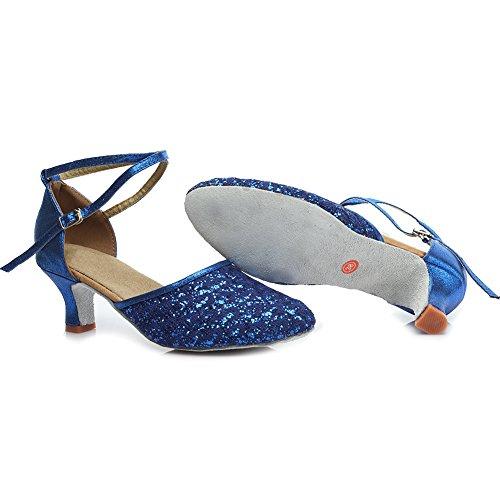 HROYL Zapatos de baile/Zapatos latinos de Leather mujeres EM5-18026 Azul
