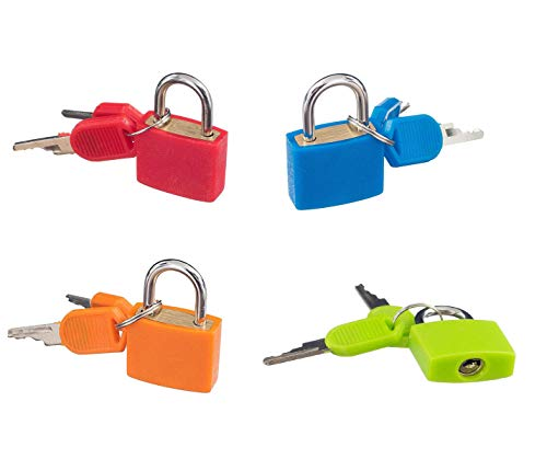 Master Orange Padlock - Padlock Security Lock Applies to Lockers Backpacks Computer Bags Toolbox and Other Colorful Colors are Easy to distinguish (4 per Pack)