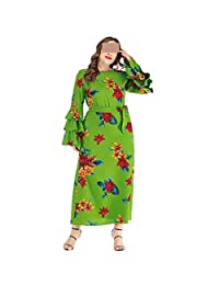 Europe and The United States Large Size Printed Trumpet Sleeves Round Neck LaceDress (Color : Green, Size : XXXL)