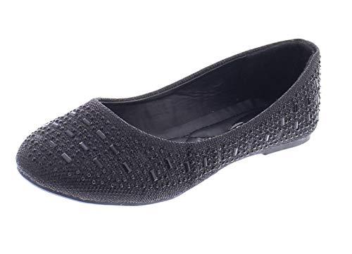 (Karma Womens Sparkle Dress Shoes,Cute Rhinestone Ballet Flats for Women, Wedding Bridal Flat Dressy Shoe Black 10 M US)