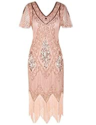 Rose Gold 1920s Sequin Art Dress with Sleeve