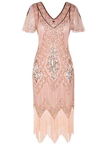 PrettyGuide Women's 1920s Dress Art Deco Cocktail Dress Short Sleeve XXL Rose Gold