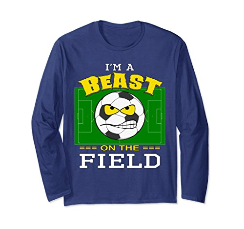Unisex I'm A Beast on the Field Soccer T-shirt 2XL Navy