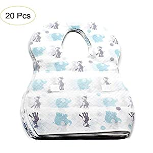 20 Pack Disposable Baby Bibs, Waterproof Non-Woven Fabric Infant Bibs for Protect Clothes, Leak-Proof Liner for Babies…