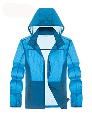 Men's Windbreaker Jacket with Hood Quick Dry Skin Coat Protection Rain Coats Waterproof Royal Blue