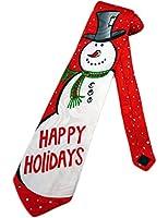 Steven Harris Mens Happy Holidays Snowman Necktie - Red - One Size Neck Tie