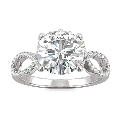 14K White Gold Moissanite by Charles & Colvard 9mm Round Engagement Ring-size 7, 2.95cttw DEW