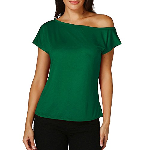 (ASERTYL Women's Cold Shoulder T-Shirt Boat Neck Short Sleeve Loose Fitting Sexy Tops Blouse Green)