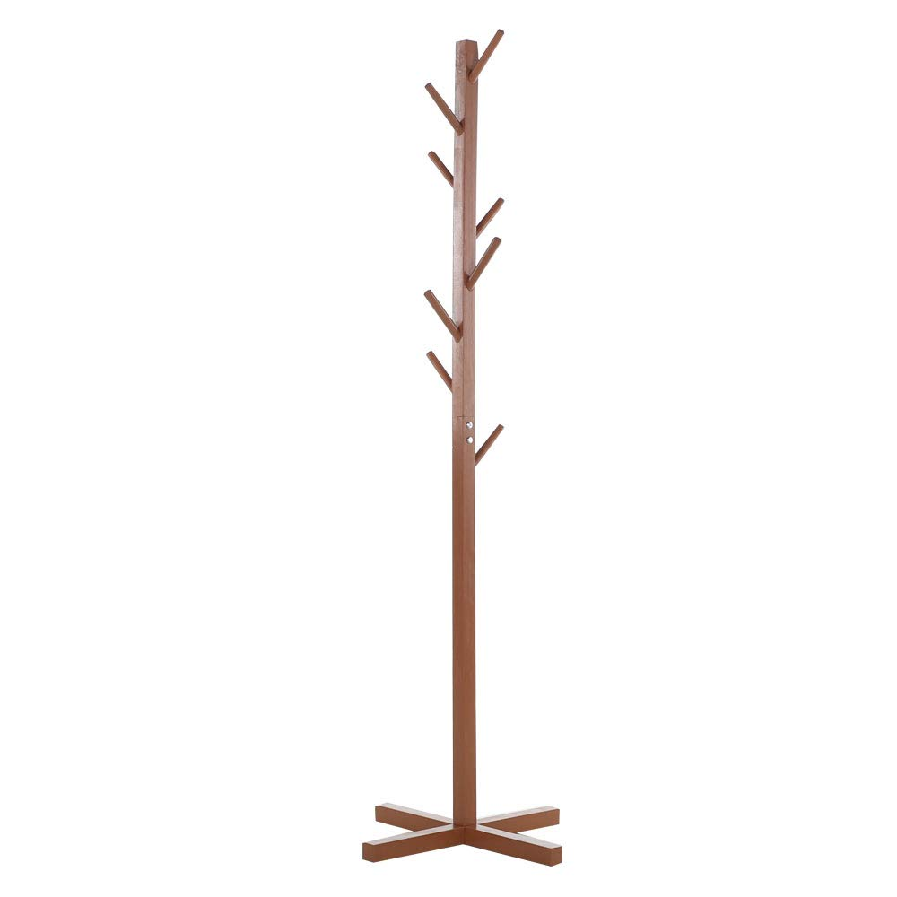 Premium Wooden Coat Rack Free Standing, with 8 Hooks Lacquered Pine Wood Tree Coat Rack Stand for Coats, Hats, Scarves, Clothes, and Handbags (Coffee)