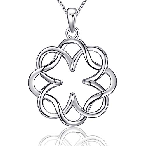 (EURYNOME 925 Sterling Silver Vintage Irish Infinity Endless Love Celtic Knot Pendant Necklace with Box Chain 18