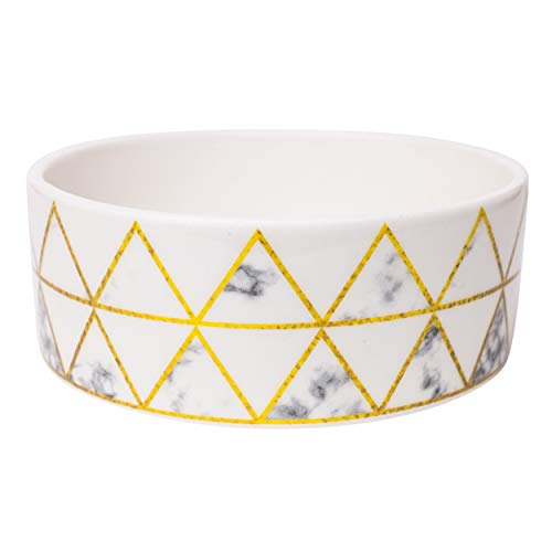 """Park Life Designs Large Pet Bowl, Lisbon Pattern, 8-1/2"""" Heavyweight Ceramic Dish Stays Put, Chew-Proof, Microwave and Dishwasher Safe"""