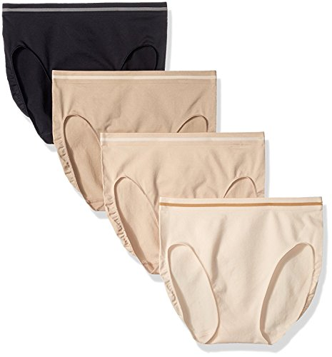Ellen Tracy Women's Seamless Flawless Fit Brief Panty (Pack of 4) (6/M, Sunbeige/Black/Latte/Natural)