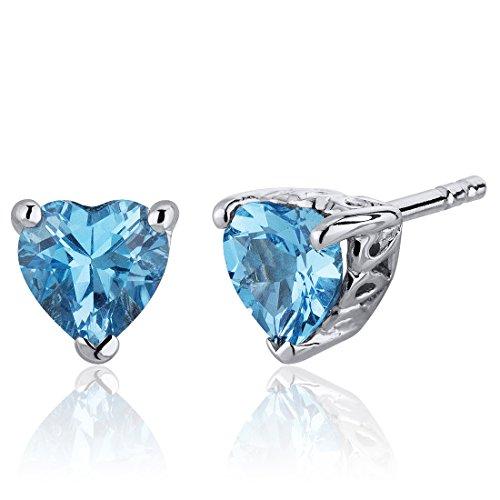 Swiss Blue Topaz Stud Earrings Sterling Silver Heart Shape 2.00 Carats ()