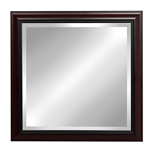 t Cherry 24x24 Square Framed Beveled Wall Mirror (Framed Bathroom Vanity Decorative Mirror)