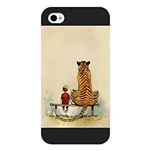 THYde UniqueBox Customized Black Frosted Calvin and Hobbes iPhone 4/4s case ending