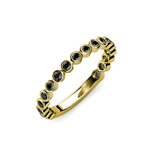 (TriJewels Black Diamond 1.8mm Bezel Set Womens Eternity Band 0.45 ctw in 14K Yellow Gold.size 6.0)