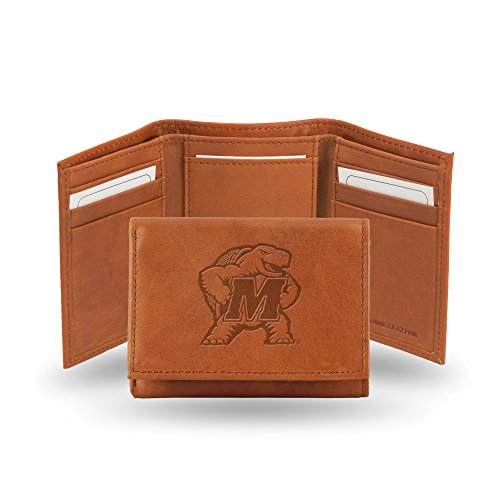 - Rico Industries NCAA Maryland Terrapins Embossed Leather Trifold Wallet, Tan