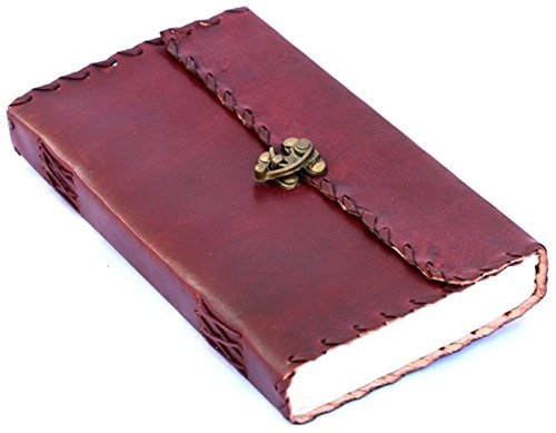 Handmade Leather Journal Travel Notebook Diary/Sketchbook With Gem Stone ( 7X5 Inches )