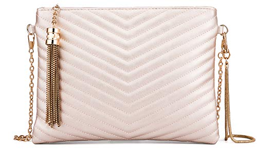 Women Clutch Purse Crossbody Evening Bags with Faux Leather Chain Wristlet Strap (Gold) (Faux Leather Wristlet)